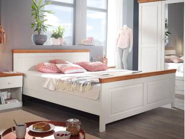 DOVER Doppelbett 180x200 cm Kiefer weiß / honig