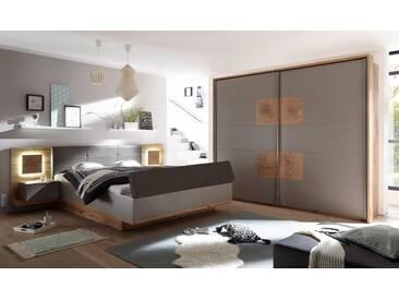 CAMERON II Schlafzimmer mit Betttruhe, Wildeiche Dekor/basaltgrau