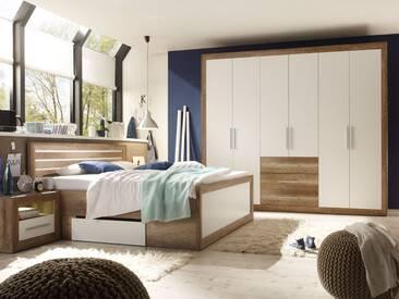 NANDO Komplett-Schlafzimmer Canyon Oak Dekor / weiss