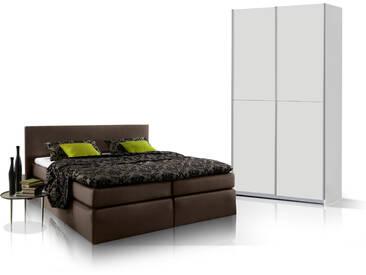 ORENO Schlafzimmerset - Schrank und Boxspringbett, braun
