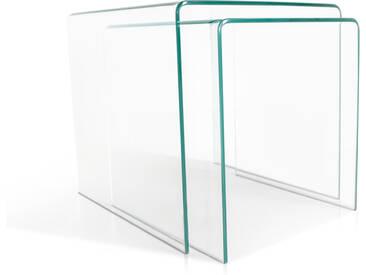 CECILE Beistelltische 2er Set, Material Klarglas