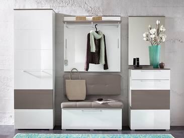 RENE Garderoben Kombination weiss Hochglanz, weiss HG / grau