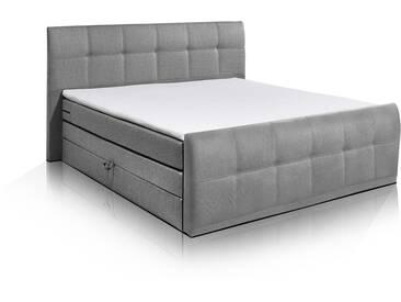 SAMARA Boxspringbett, integrierter Bettkasten, 180x200 cm, grau