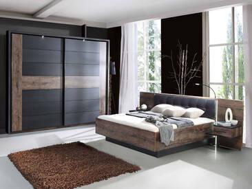 ERLIN Schlafzimmer Schwarzeiche Dekor, 180 x 200 cm