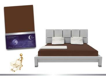 """Luxus Wasserbett Spannbettlaken """"Line platin"""" 180 - 200x220 240g/m² Spannbetttuch -tabak"""