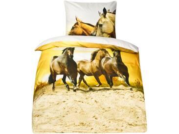Mako Satin Pferde Bettwäsche Pferdebettwäsche 135x200 MOON Digitaldruck D890/09