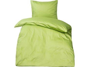 Premium uni Mako Satin Bettwäsche MOON 100% Baumwolle grün-Deckenbezug 135x200