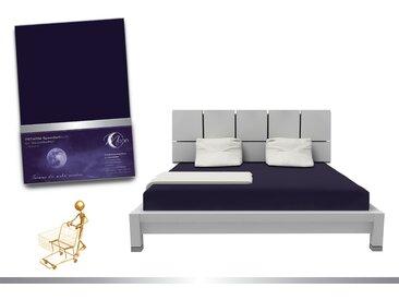 """Luxus Wasserbett Spannbettlaken """"Line platin"""" 180 - 200x220 240g/m² Spannbetttuch -dunkelblau"""