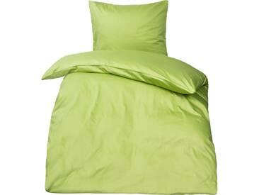 Premium uni Mako Satin Bettwäsche MOON 100% Baumwolle grün-Kissenbezug 50x50
