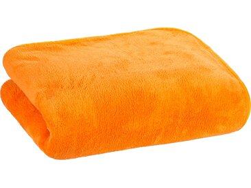 Floringo Luxus  Well-Soft-Decke Kuscheldecke mit umlaufendem Schrägeinfassband 95°-orange