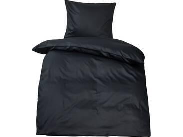 Premium uni Mako Satin Bettwäsche MOON 100% Baumwolle schwarz-Deckenbezug 155x220