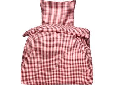 Bettwäsche Züchen Landhaus Karo 135x200 Reißverschluss 95° und chlorecht-weiß / rot