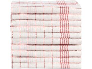 Halbleinen Gastronomie Geschirrtücher weiß - rot 50x70 cm 10er Pack
