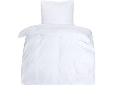 Angebot!! Hotelbettwäsche Damast Streifen 10mm weiß 135x200 / 80x80 100% Baumwolle