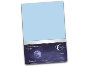 "Topper Spannbetttuch 190g/m²  180x200 - 200x220   ""Line silver""-hellblau"