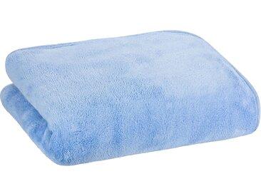 Floringo Luxus  Well-Soft-Decke Kuscheldecke mit umlaufendem Schrägeinfassband 95°-blau