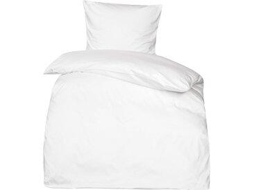 Premium uni Mako Satin Bettwäsche MOON 100% Baumwolle weiß-Deckenbezug 135x200