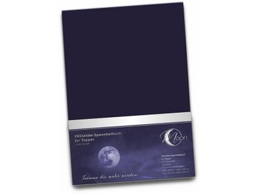 "Topper Spannbetttuch 190g/m²  180x200 - 200x220   ""Line silver""-dunkelblau"