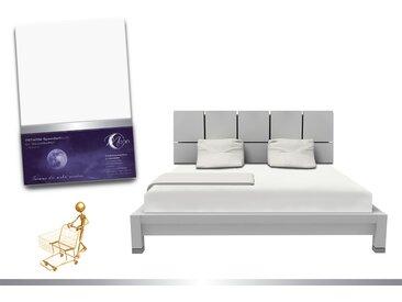 """Luxus Wasserbett Spannbettlaken """"Line platin"""" 180 - 200x220 240g/m² Spannbetttuch -weiß"""